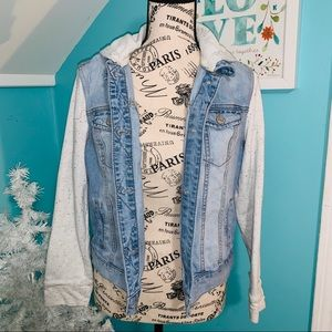Denim jacket with gray hood and sleeves